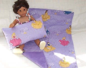 18  inch Doll Clothes American Girl CINDERELLA, Snow White, Belle BLANKET and PILLOW