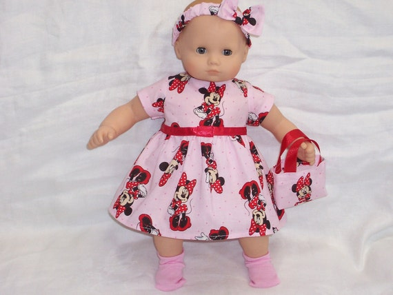 15 inch Doll Clothes American Girl Bitty Baby MINNIE MOUSE DRESS, Headband, Purse, Socks