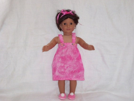 18 inch Doll Clothes American Girl, PINK NIGHTGOWN & SLIPPERS