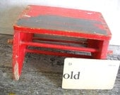 Vintage Wooden Step Stool Shabby Red