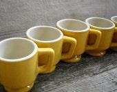 Vintage Yellow USA Mugs Set of 5