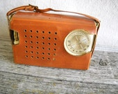 Vintage GE Transistor Radio with Leather Case