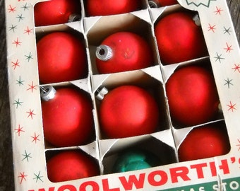Vintage Red Christmas Ornaments -Woolworth's Dime Store
