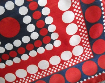 Vintage Polka Dot Betmar Scarf - Geometric Red White and Blue