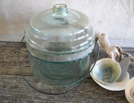 Vintage Glass Kerosene Jar with Lid Industrial Decor