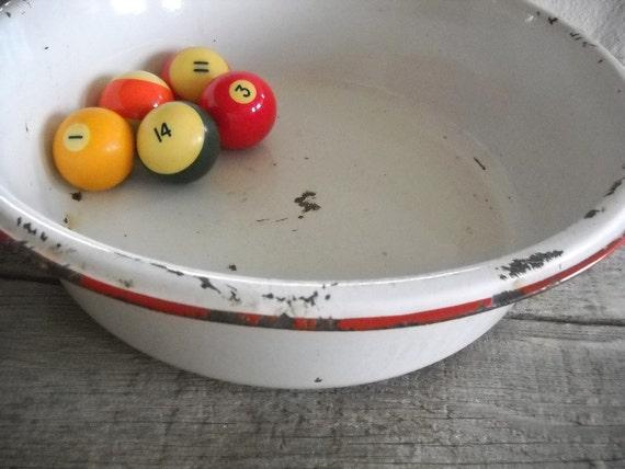 Vintage Farmhouse Red and White Enamel Bowl