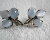 Art Deco Moonstone Earrings in Sterling Silver Setting Screw Back Clip Ons