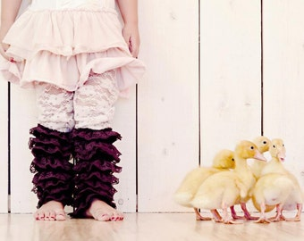 Choose 3 COLORS- Ruffled Lace Leg Warmers Leggings Tights for Toddler Kids