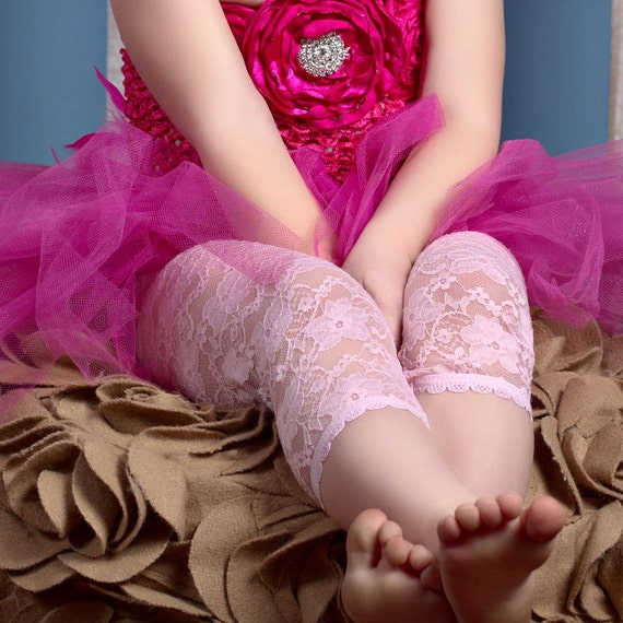 SALE CHOOSE Any 3 PAIRS: Red, Hot Pink, Light Pink, Black, Ivory, White- Lace Leggings Tights for Infant - Toddler