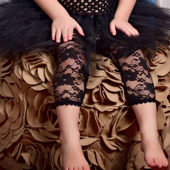 Choose RED, HOT Pink, IVORY, Light Pink, Black, White- Lace Leggings Tights for Infant - Toddler