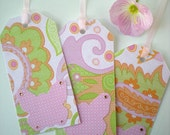 Butterfly 3 Gift Tags Handmade Pink Green Orange Sweet Prints Cut Paper