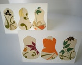 Butternut Squash 2-Card Set Handmade Farmers Market Cut Paper