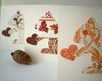 Squirrel Heart 3-Card Set Handmade Woodland Forest Animals Love Earth Tone Cut Paper