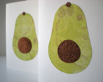 Handmade Notecards Set of 2 Avocado Farmers Market Fruit Green Brown Hand Cut