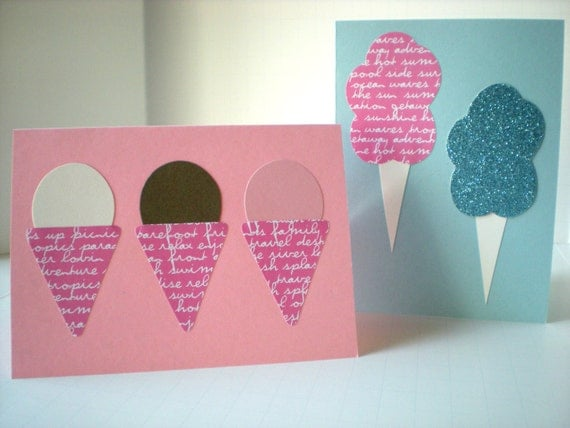 Handmade Notecards Set of 2 Sweet Treats Ice Cream Cone Cotton Candy Pink Blue Whimsical Cut Paper