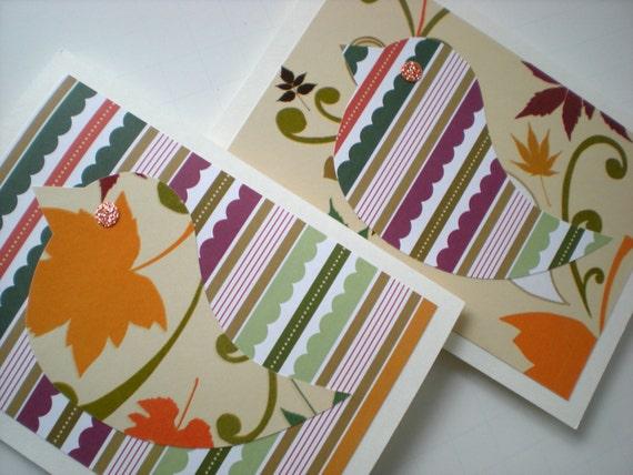 Handmade Notecards Set of 2 Woodland Chick Bird Forest Friend Hand Cut Paper