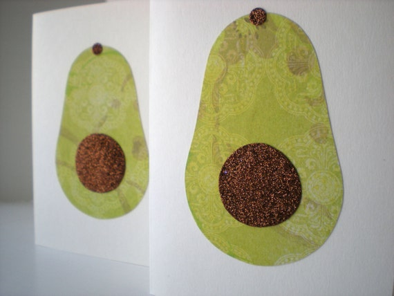 Handmade Notecards Set of 2 Avocado Farmers Market Fruit Green Brown Hand Cut