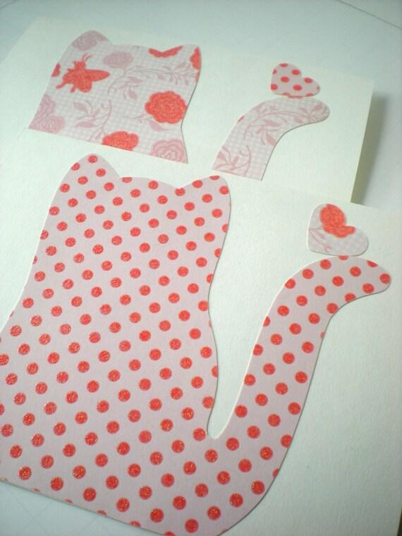 Kitty 2-Card Set Handmade Cat Kitten Feline Animal Friend Heart Dot Floral Coral Pink