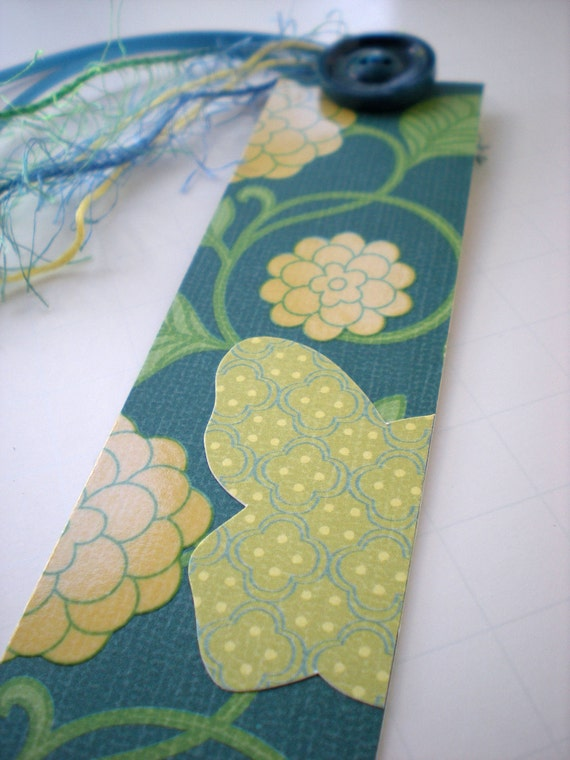 Handmade Bookmark Butterfly Teal, Yellow and Green Floral with Teal Vintage Button OOAK