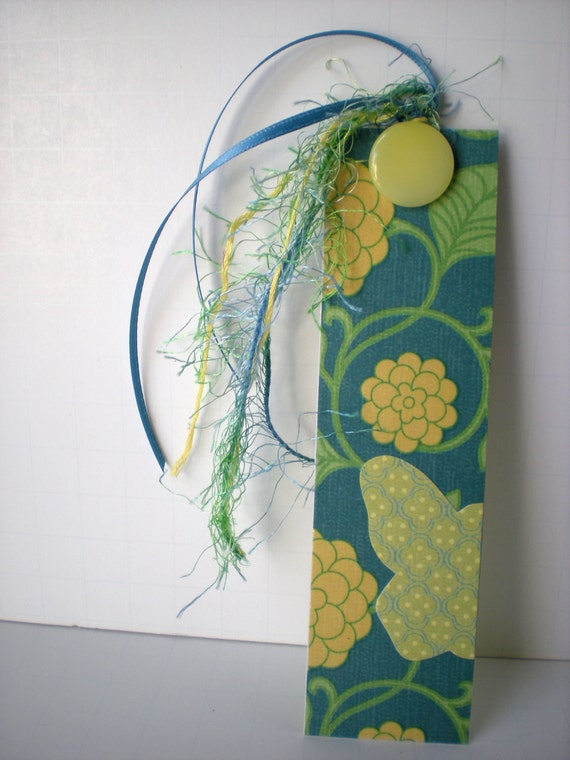 Handmade Bookmark Butterfly Teal, Yellow and Green Floral with Yellow Vintage Button OOAK