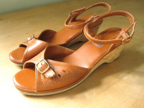 RESERVED Tan Cork Wedge Ankle Strap Sandals Size 7