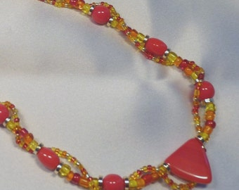 Free Earrings with Red, orange & yellow beaded necklace
