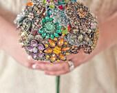 Medium Colorful Wedding Brooch Bouquet - Blue, Pink, Green, Purple, Orange, Yellow, Red