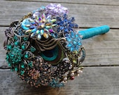 Medium Peacock Wedding Brooch Bouquet with real Peacock Feathers - Blue, Green & Purple - Made to Order