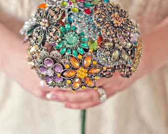 Medium Colorful Wedding Brooch Bouquet - Blue, Pink, Green, Purple, Orange, Yellow, Red