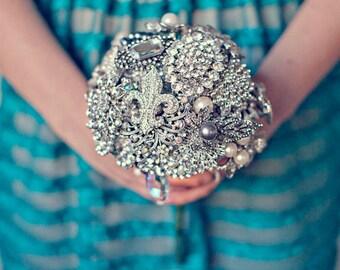 Medium Crystal, Silver & Pearl Wedding Brooch Bouquet with Fleur de Lys