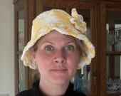 Yellow and Cream Cotton Crocheted Hat