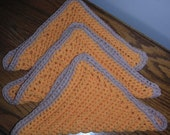Cotton Washcloths Set of 3 in Tangerine and Linen