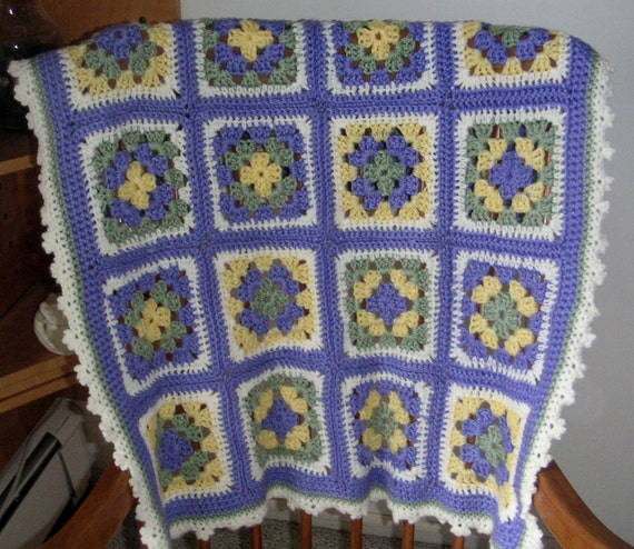 Crochet Baby Granny Square Afghan in Lavender, Light Green, Yellow and Cream