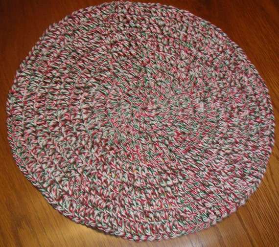 Crochet Cotton Round Placemats, Set of 4