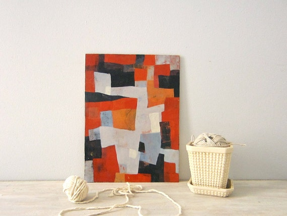 Abstract  - Orange, Red, Black, Blue, Periwinkle, Acrylic Painting