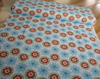 02406 Anthology Fabrics Mod Charm Floral zig zag in Blue/Orange / Green PR150-  1 yard