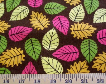 06009 Springs Baby Corduroy Brown with multi colored leaves 1 yard