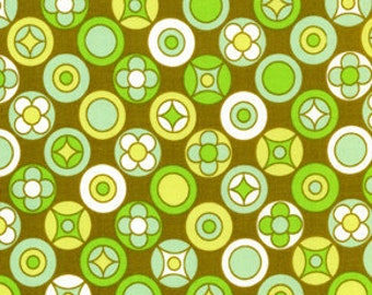 01816 Erin McMorris Wildwood Flower Buttons in Olive color- 1 yard