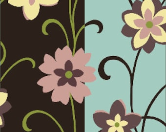 02321  Benartex City Blooms collection Blooms and Stripes  1 yard