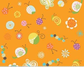 04187  -Deena Rutter for Riley Blake Happier C5501  Multi Bugs in orange color- 1 yard