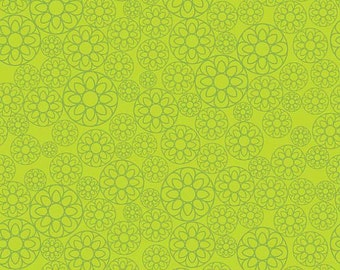 04189  -Deena Rutter for Riley Blake Happier C5503  Floral in green color- 1 yard