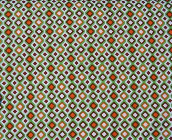02408 Anthology Fabrics Sweet Tooth diamond stripe in green/brown/orange -  1 yard