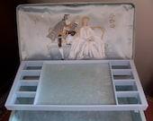 Reserved for Lana -Vintage Farrington Jewelry Box - Genuine Texol - Floral Pattern - Light Blue