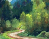 The Long and Winding Road, ACEO, original color pencil painting