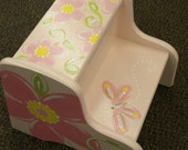 Personalized Step Stool, Girls, Customize, Wooden, Hand Painted, Pink or Purple Flowers and Butterflies