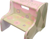 Personalized Step Stool, child, custom, hand painted, wooden with handle, pink and green flowers and argyle design