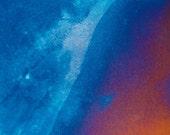 The Hidden Rift, Metallic, Abstract, Blue, Rust, Titanium,  5x7