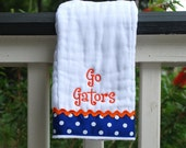 University of Florida embroidered burp cloth