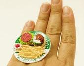Kawaii Miniature Food Rings - French Fries and Hamburger Ring