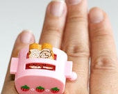 Kawaii Cute Miniature Food Ring - Strawberry Toast in the Toaster